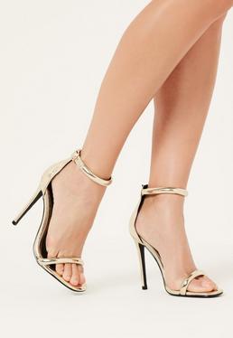 Złote szpilki sandały zapinane na kostce