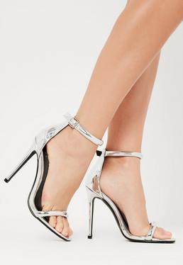 Srebrne szpilki sandały zapinane na kostce