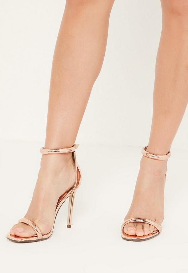 Rose Gold Rounded Strap Barely There Sandals Missguided