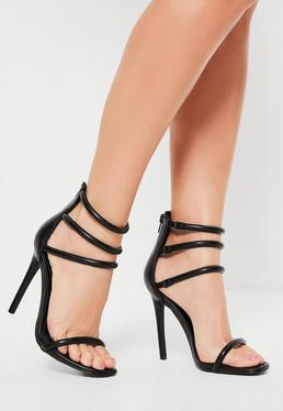 Black Rounded Four Strap Barely There Heels