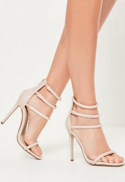 Nude Multi Strap Barely There Heels