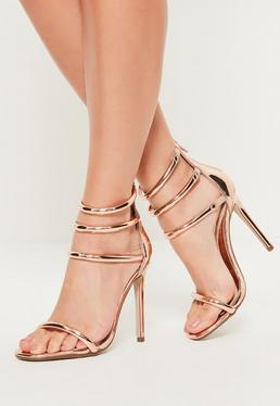Sandales à talon et brides de cheville or rose
