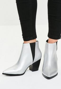 Bottines argentées pointues style western