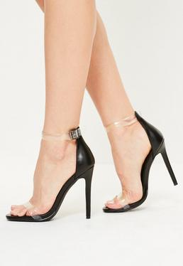 Black Clear Rounded Strap Barely There Heels