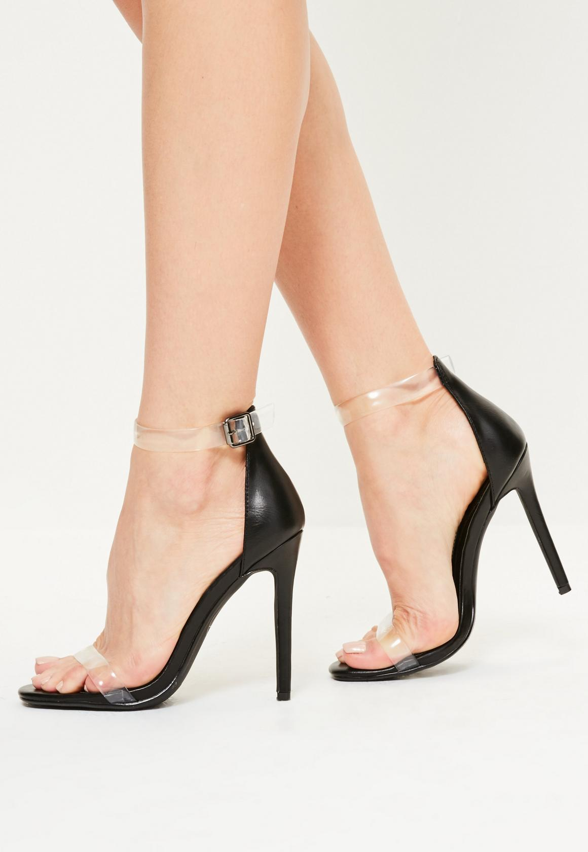 Black sandals ireland -  Black Clear Rounded Strap Barely There Heels