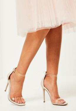 nude clear rounded strap barely there heels