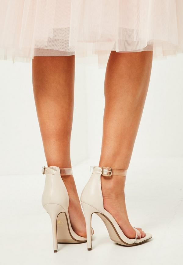 Nude Clear Rounded Strap Barely There Heels  Missguided-9894