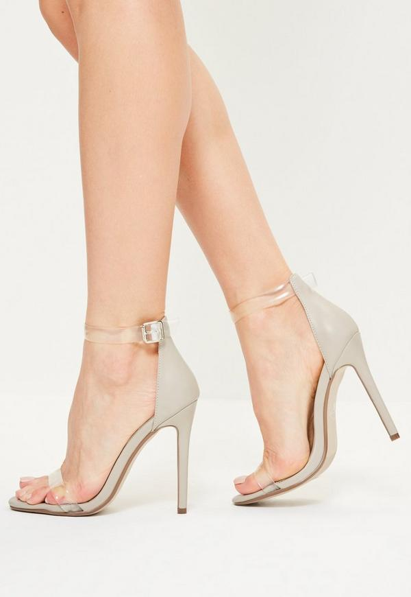 Grey Clear Rounded Strap Barely There Heels