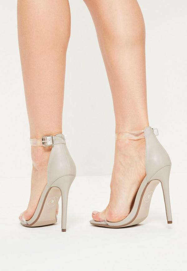 high heels absatzschuhe mit rund transparent riemen in. Black Bedroom Furniture Sets. Home Design Ideas