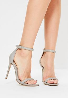 Grey Rounded Strap Barely There Heels