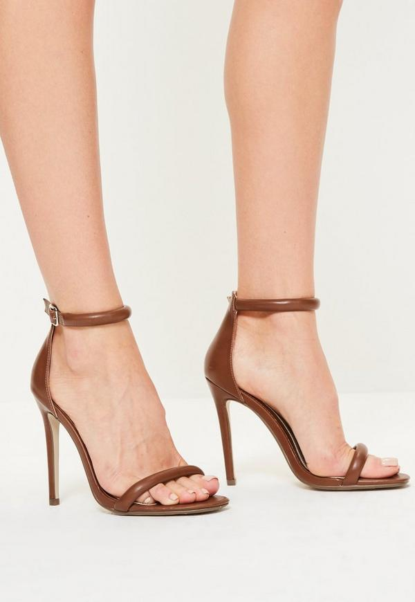 Brown Rounded Strap Barely There Heels