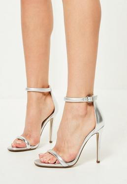 Silver Rounded Strap Barely There Heels