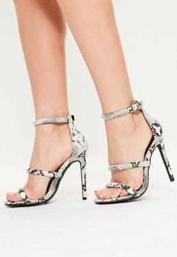Grey Snake Print 3 Strap Barely There Heels
