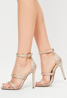 Nude Snake Print 3 Strap Barely There Heels