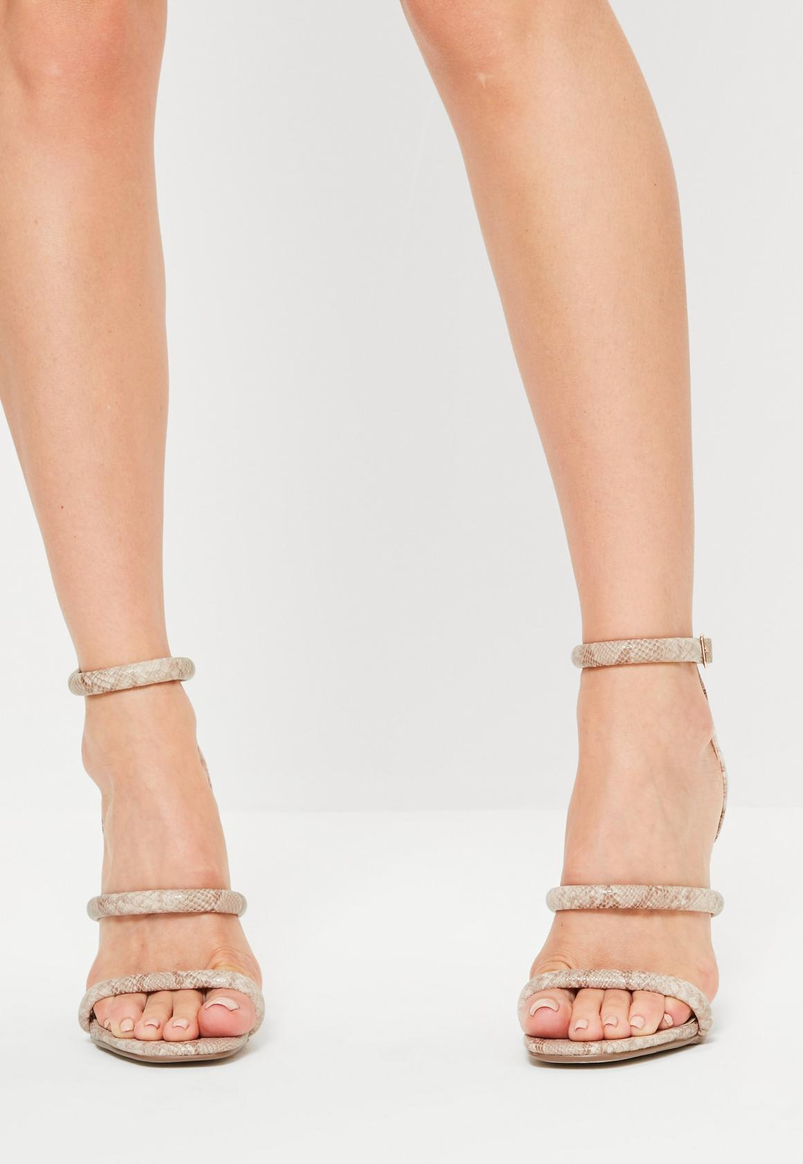 eadd83e0e872 Missguided - Nude Snake Print 3 Strap Barely There Heels