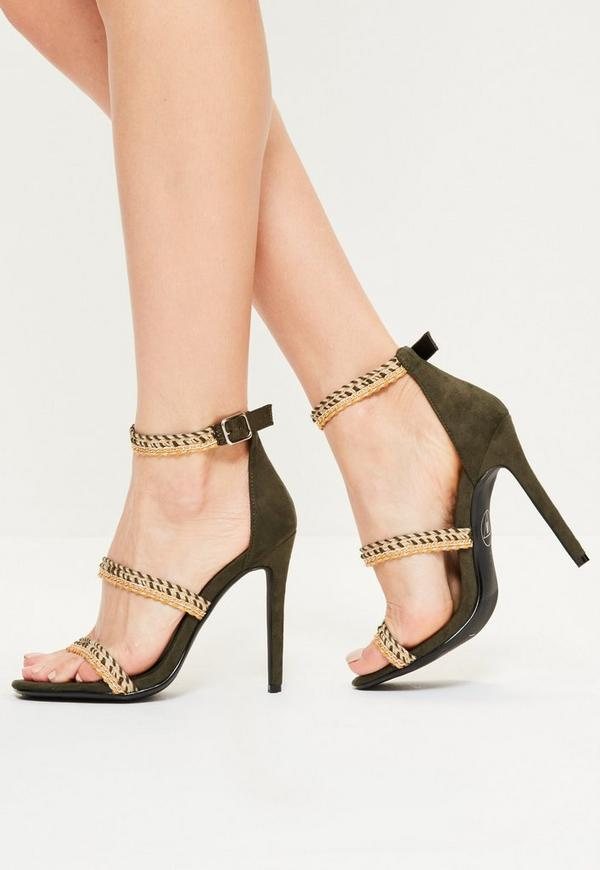 Khaki Braided 3 Strap Heeled Sandals