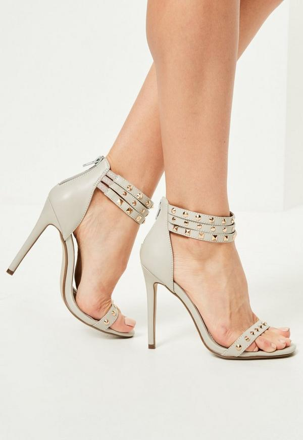 Grey Studded 3 Strap Heeled Sandals