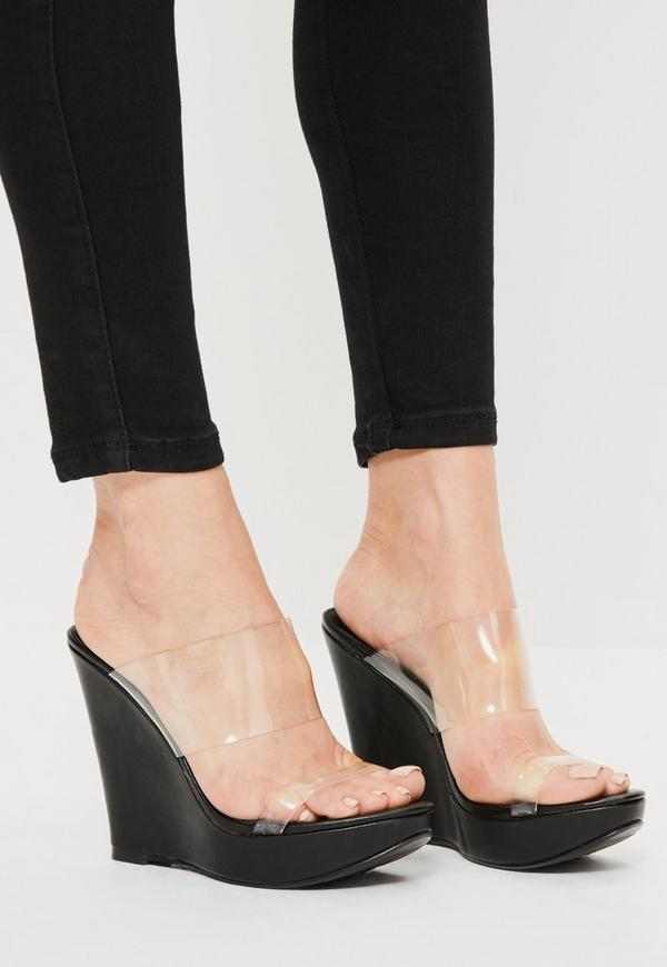 Black Clear Double Strap Wedges