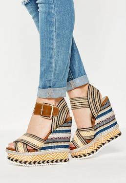 Orange Plaited Raffia Wedge Sandals