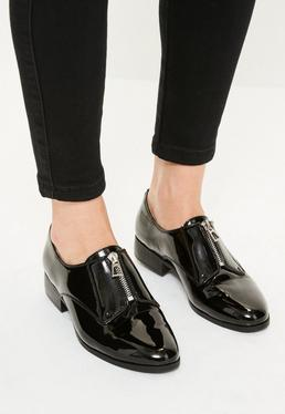 Black Zip Front Patent Brogues