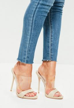 Nude Clear Strap Snake Pattern Heeled Mule Sandals