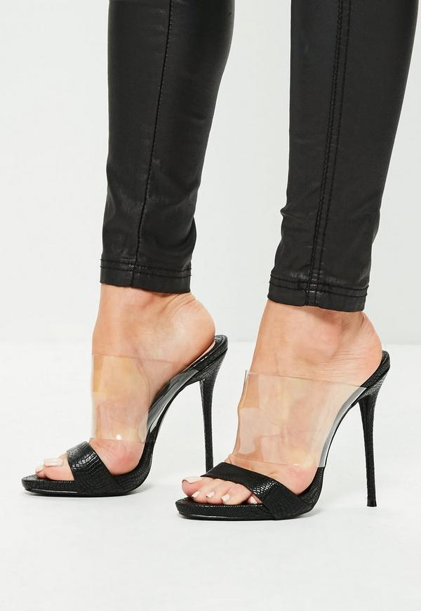Black Clear And Snake Strap Heeled Mules