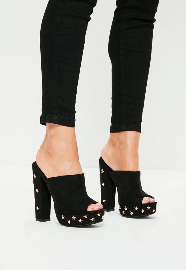 Black Star Studded Platform Mule Heeled Shoes