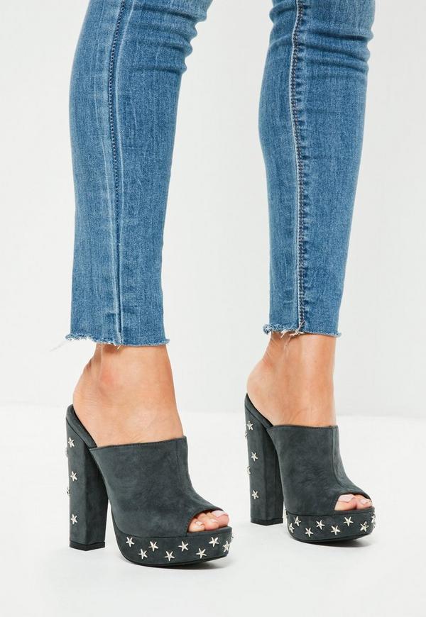 Grey Star Studded Platform Mule Heeled Shoes