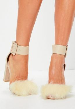 Beżowe skórzane sandały na klocku z futerkiem