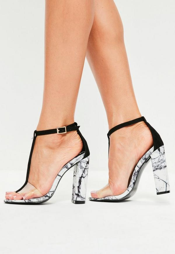 Black Marble Finish T-Bar Heeled Sandals