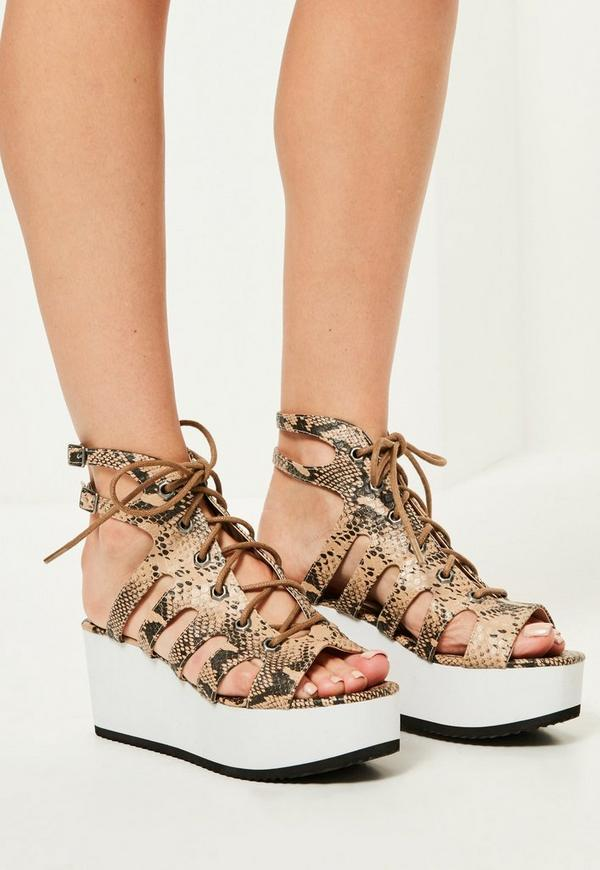 Nude Snake Print Lace Up Flatform Sandals
