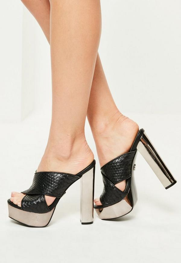 Black Snake Effect Cross Strap Heeled Platforms