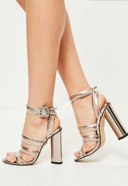 Srebrne sandały na klocku z przeźroczystymi paskami