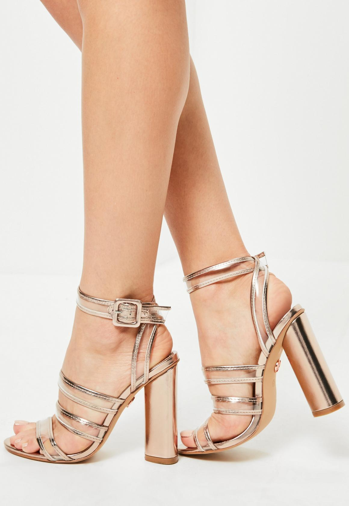 Rose Gold Clear Multi Strap Block Heeled Sandals | Missguided