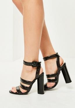 Black Multi Strap Block Heeled Sandals