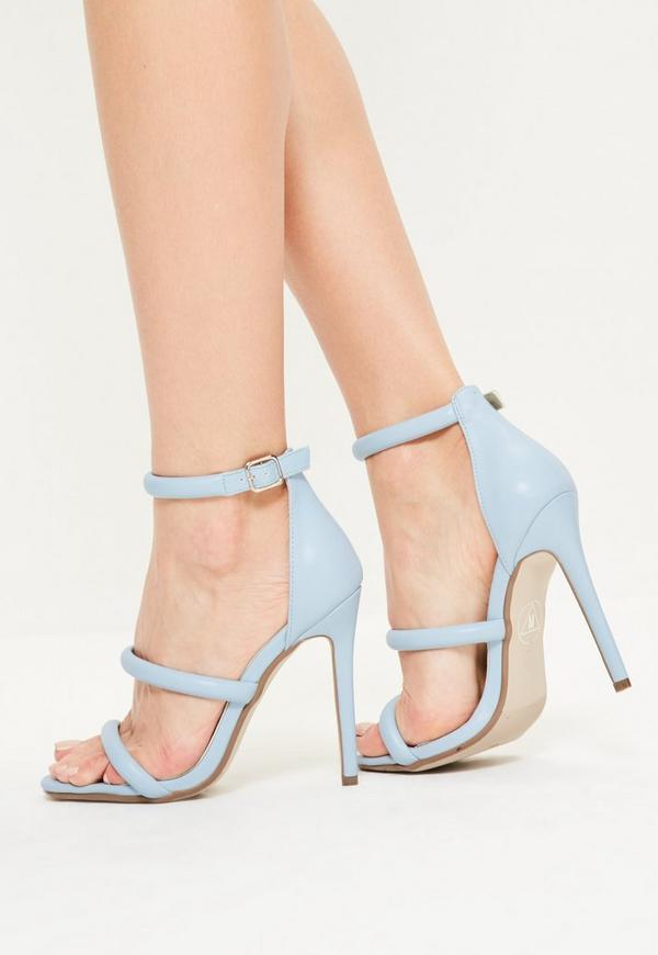 Blue Faux Leather Three Strap Barely There Heels