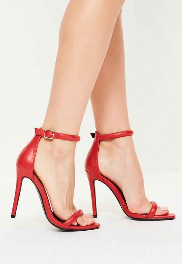 Red Barely There Heels Missguided