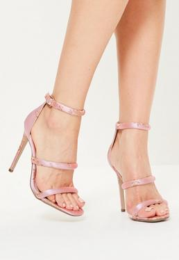 Pink Floral Embroidered Three Strap Barely There Heels