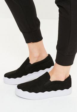Black Wave Sole Flatform Slip On Sneakers