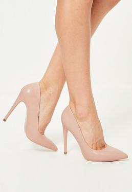 Pink Faux Leather Pointed Toe Court Shoes