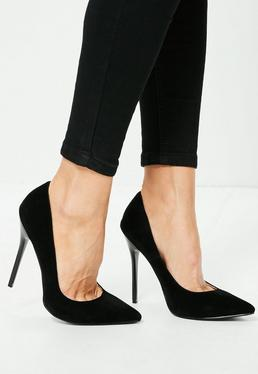 Black Faux Suede Pointed Toe Court Shoes