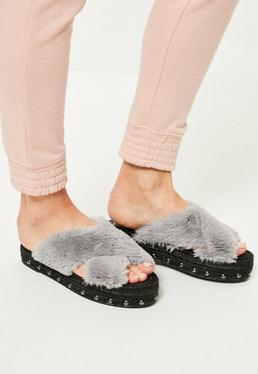Grey Faux Fur Cross Strap Studded Sliders