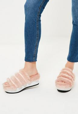 Pink Faux Fur Flatform Sliders