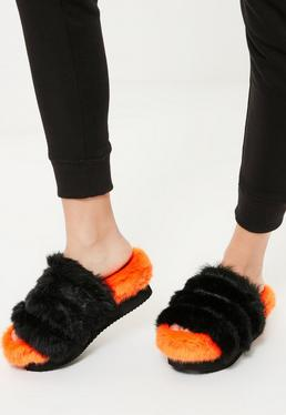 Orange Faux Fur Flatform Sliders