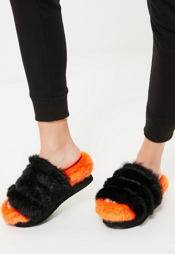 Orange Faux Fur Flatform Sliders