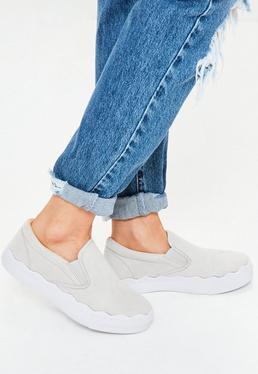 Grey Wave Sole Slip On Flatform Sneakers