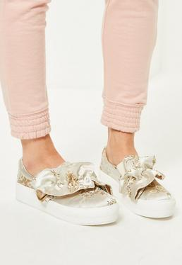 Nude Floral Print Ruffle Trim Sneakers