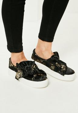 Black Floral Print Ruffle Trim Trainers