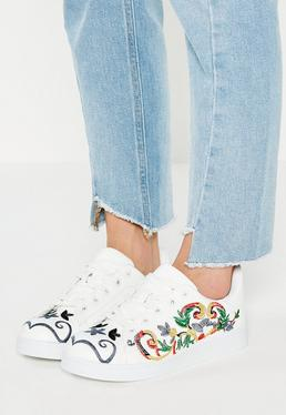 White Embroidered Trainers