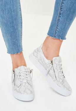Grey Snake Pattern Double Zip Trainers
